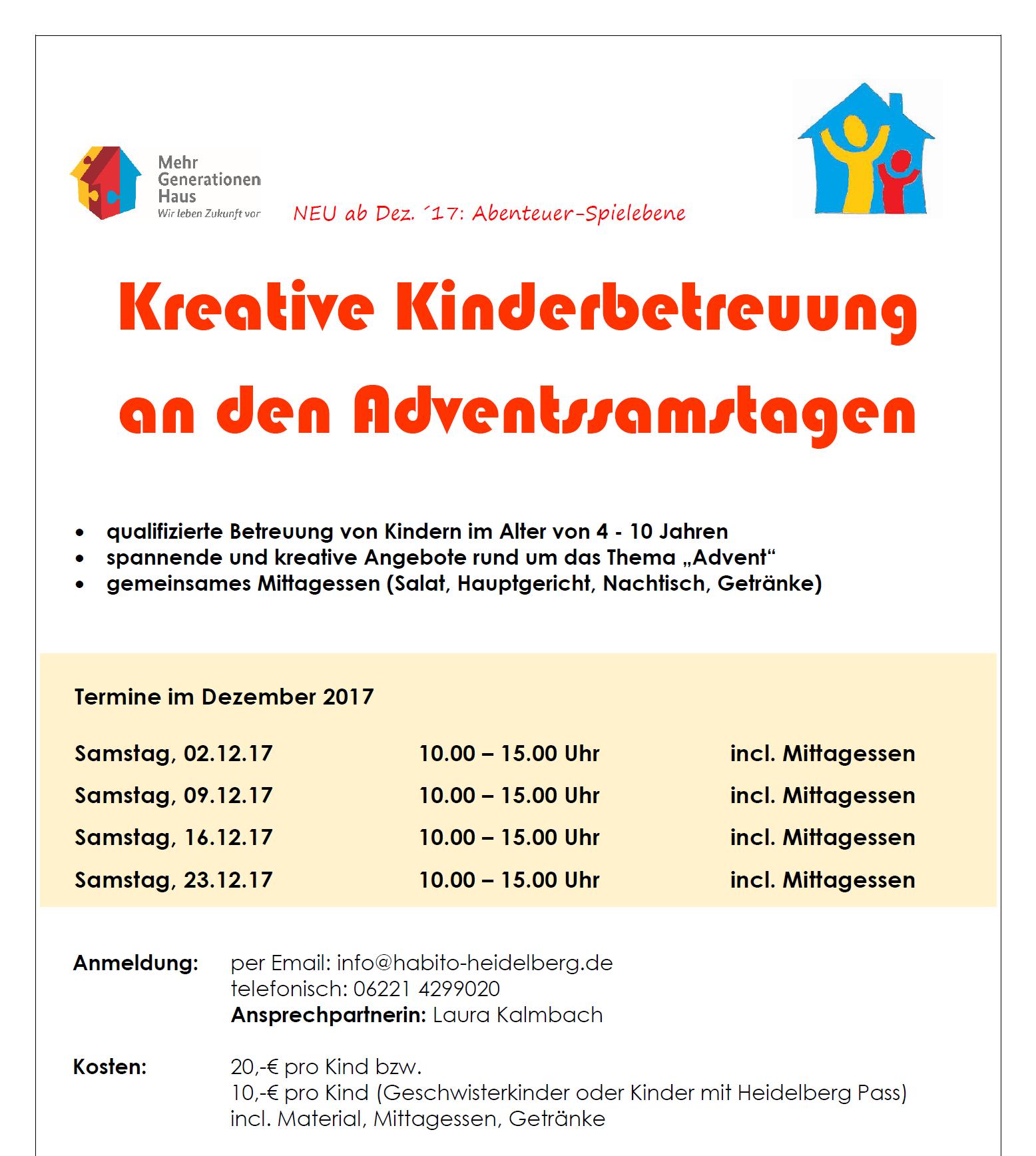 02.+09.+16.+23.12. Kreative Kinderbetreuung an den Adventssamstagen ...